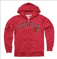 Louisville Cardinals Women's Heather Grey Cheer Ring Spun Full-Zip Hooded Sweatshirt
