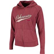 Arkansas Razorbacks Women's Cardinal Twist Long Sleeve Full-Zip Hooded Slub T-Shirt