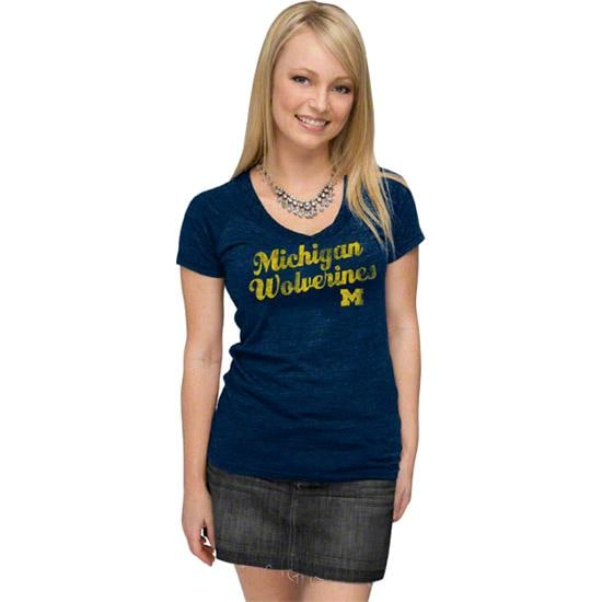 Michigan Wolverines Women's Navy adidas Vintage Tri-Blend V-neck T-Shirt