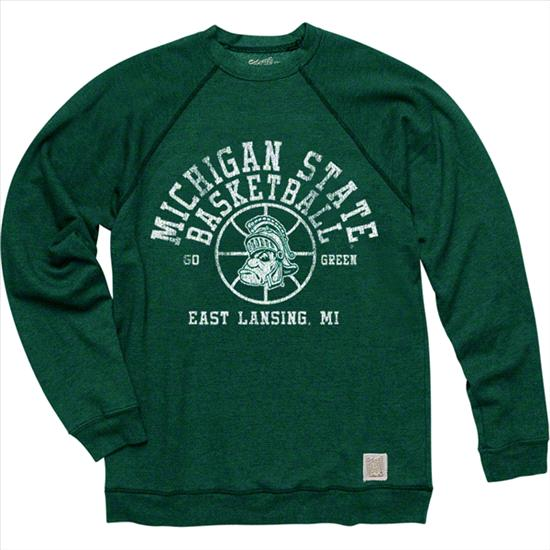 Michigan State Spartans Original Retro Brand Basketball Super Soft Crewneck Sweatshirt