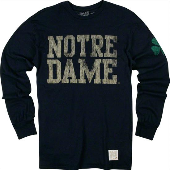 Notre Dame Fighting Irish Original Retro Brand Navy Two-Hit Vintage Long Sleeve T-Shirt