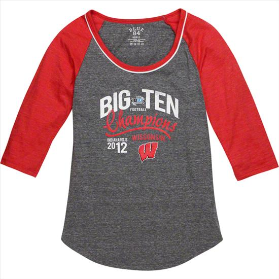 Wisconsin Badgers Women's 2012 Big Ten Conference Football Champions Carnival Tri-Blend 3/4 Sleeve T-Shirt