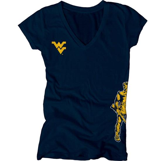 West Virginia Mountaineers Women's Navy Cossett Mascot Deep V-Neck Tee
