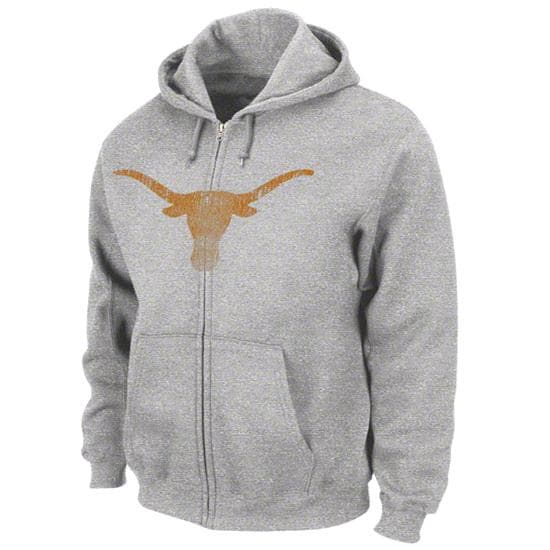 Texas Longhorns Grey Cross Cut Full-Zip Hooded Sweatshirt