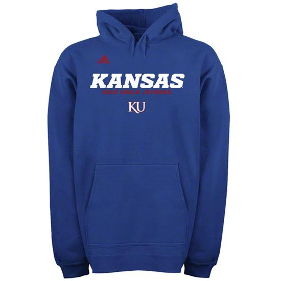 Kansas Jayhawks Royal adidas 2012 Football Sideline Graphic Hooded Sweatshirt
