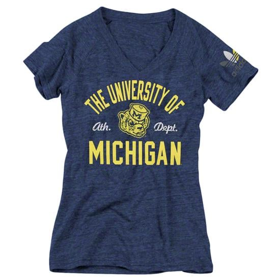 Michigan Wolverines Women's Heather Navy adidas Originals Gradient Sparkle Tri-Blend V-Neck T-Shirt