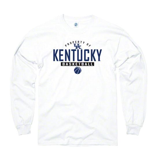 Kentucky Wildcats White Property of Basketball Long Sleeve T-Shirt