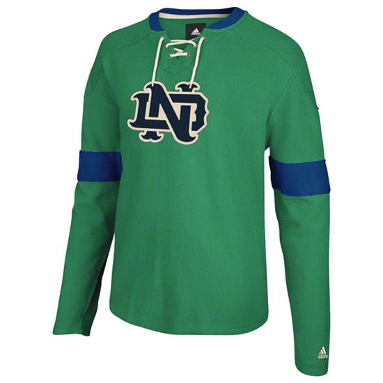 Notre Dame Fighting Irish adidas Lace Up Hockey Crewneck Sweatshirt -Green