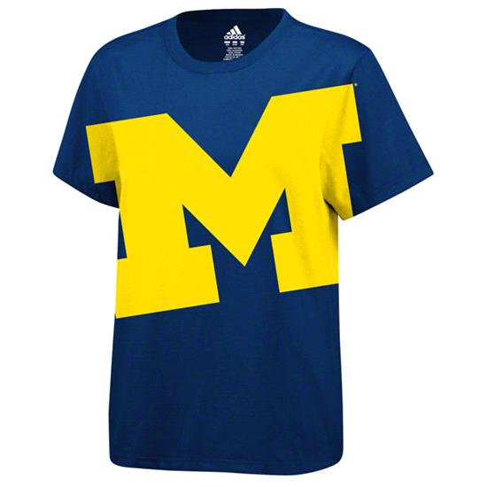 Michigan Wolverines adidas Navy Women's WOW Factor Bold Logo T-Shirt