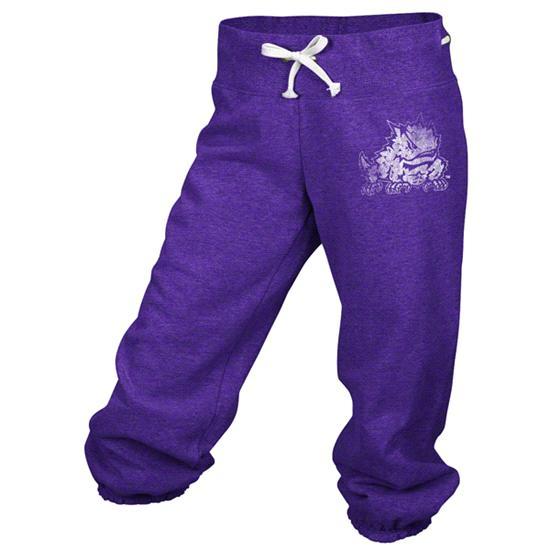 TCU Horned Frogs adidas Purple Women's Big Better Logo Cropped Capri Pants