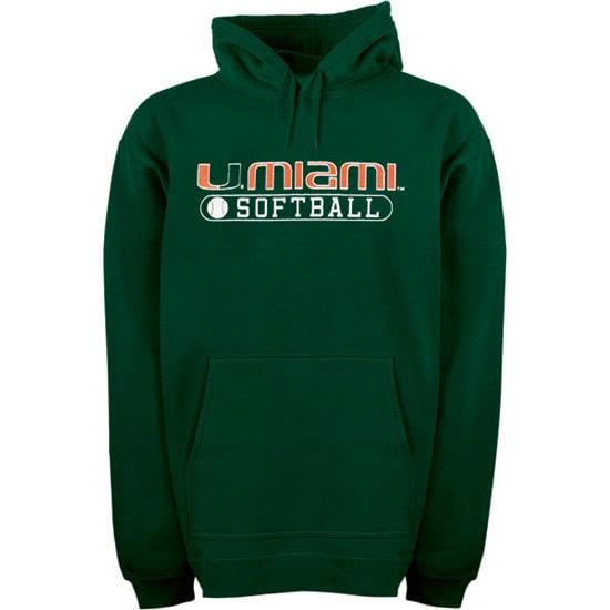 Miami Hurricanes Green Softball Hooded Sweatshirt