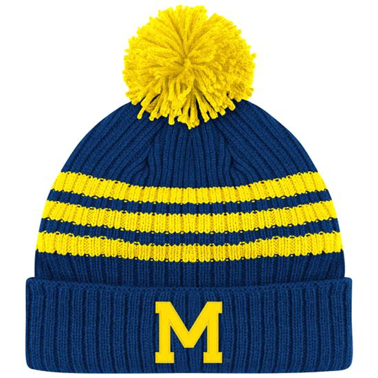Michigan Wolverines adidas Navy Homecoming Pom Cuffed Knit Hat