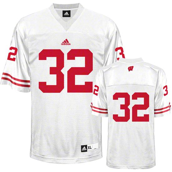 Wisconsin Badgers Football Jersey: adidas #32 White Replica Football Jersey