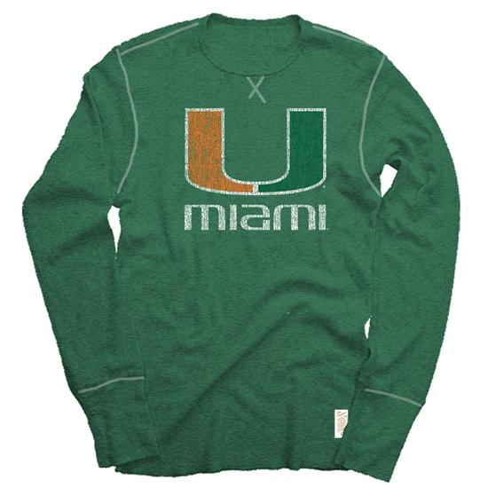 Miami Hurricanes Green Retro Brand Vintage The U Long Sleeve Melange Thermal Shirt