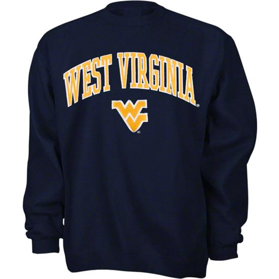 West Virginia Mountaineers Navy Tackle Twill Crewneck Sweatshirt