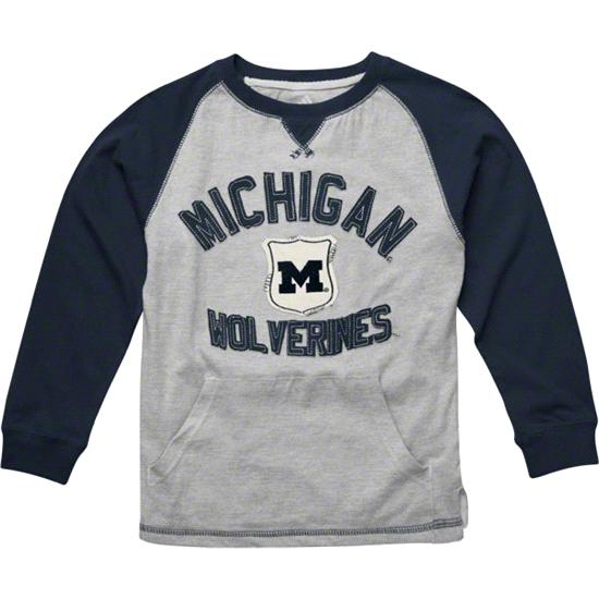 Michigan Wolverines Youth adidas Navy Pouch Pocket Vintage Crewneck T-Shirt