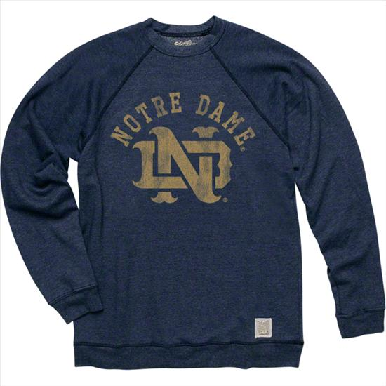 Notre Dame Fighting Irish Arch Over Navy Original Retro Brand Super Soft Crewneck Sweatshirt
