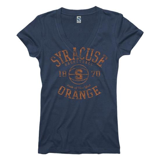 Syracuse Orange Navy Women's Sporty Hoops Deep V-Neck T-Shirt