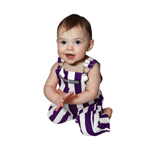 Infant Purple/White Game Bibs Overalls