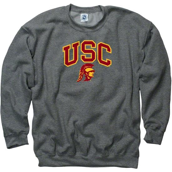 USC Trojans Dark Heather Perennial II Crewneck Sweatshirt