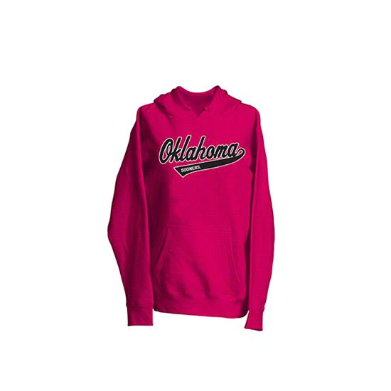 Oklahoma Sooners Women's Pink Twill Tailsweep Hooded Sweatshirt