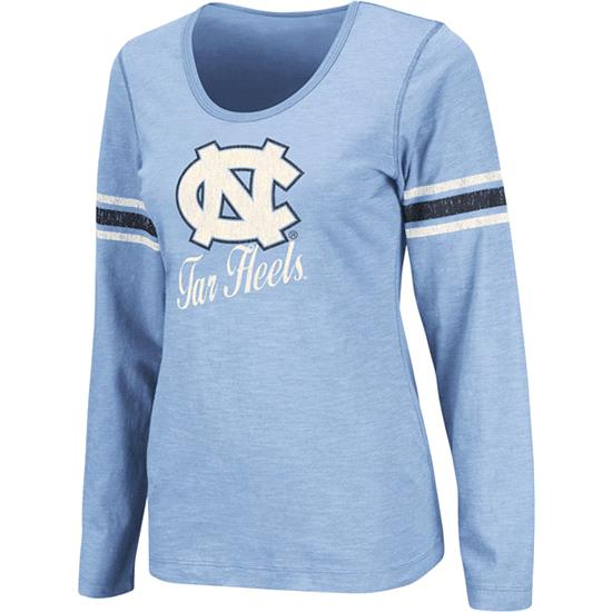 North Carolina Tar Heels Light Blue Women's Mako II Slub Knit Scoop Neck Long Sleeve T-Shirt