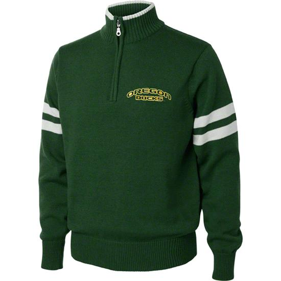 Oregon Ducks Dark Green/White 1/4 Zip Pullover Sweater