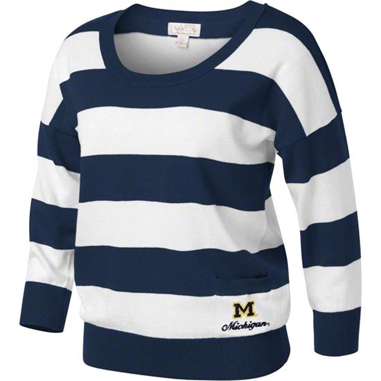 Michigan Wolverines Women's Navy/White 3/4 Sleeve Scoop Neck Rugby Sweater