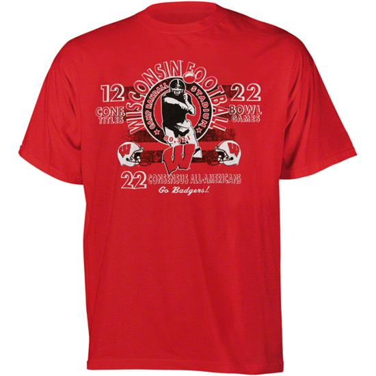 Wisconsin Badgers Football Diode Retro Graphic Stat T-Shirt