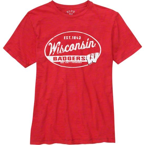 Wisconsin Badgers Red Whiffle Dyed Slub Knit T-Shirt