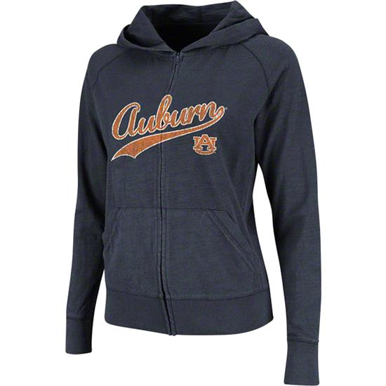 Auburn Tigers Women's Navy Twist Long Sleeve Full-Zip Hooded Slub T-Shirt