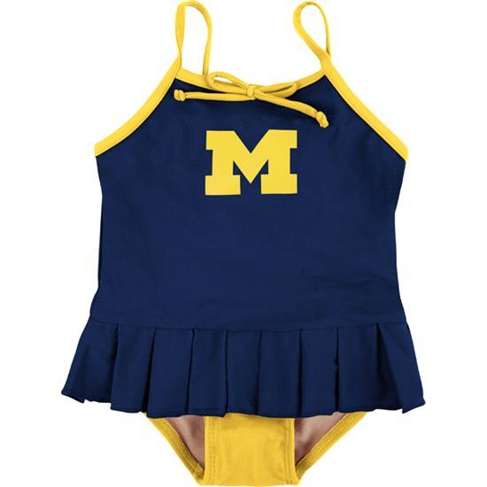 Michigan Wolverines Toddler Cheerleader in Training Swimsuit