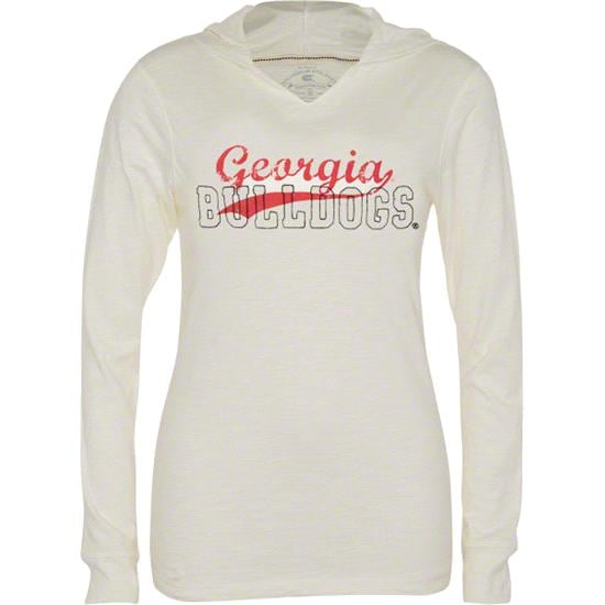 Georgia Bulldogs Women's Eggshell Quad Slub Long Sleeve Hooded Tee