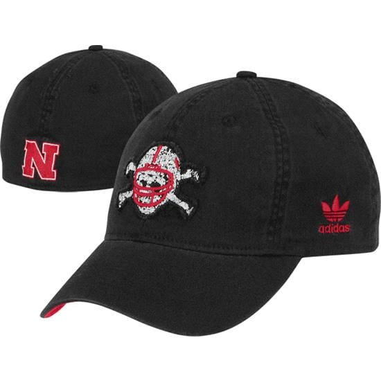 Nebraska Cornhuskers adidas Black 'Blackshirts' Skull and Crossbones Slope Flex Hat