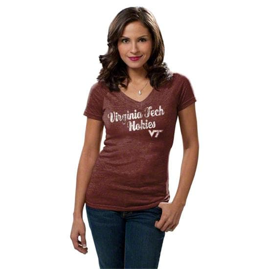 Virginia Tech Hokies Women's Maroon adidas Vintage Tri-Blend V-neck T-Shirt