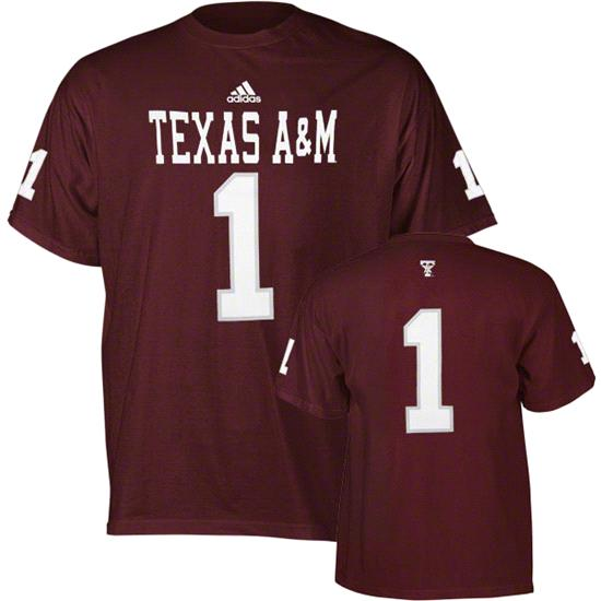 Texas A&M Aggies Maroon adidas #1 Football Jersey T-Shirt