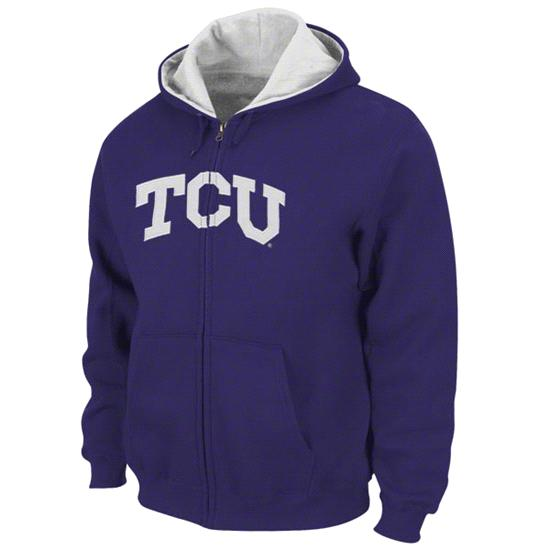 TCU Horned Frogs Purple Tackle Twill Full Zip Hooded Sweatshirt