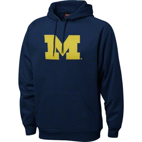 Michigan Wolverines Navy Tackle Twill Performance Fleece Hooded Sweatshirt