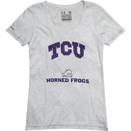 TCU Horned Frogs Women's Under Armour Charged Cotton V-Neck T-Shirt