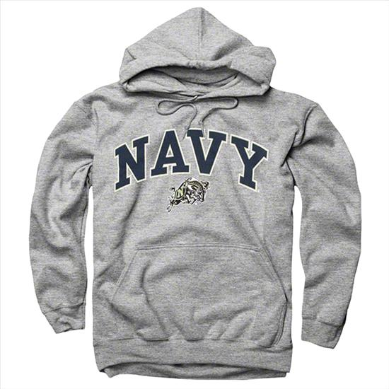 Navy Midshipmen Youth Sport Grey Perennial II Hooded Sweatshirt