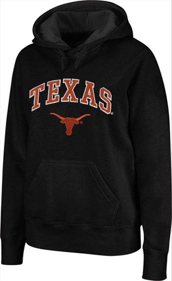 Texas Longhorns Women's Black Tackle Twill Hooded Sweatshirt