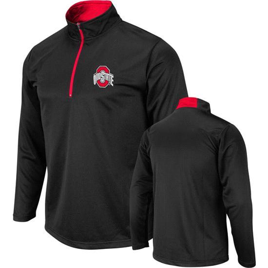 Ohio State Buckeyes Black Mako 1/4 Zip Lightweight Long Sleeve T-Shirt