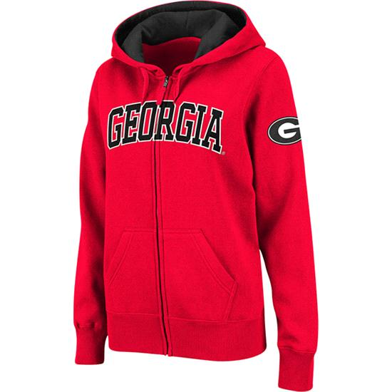 Georgia Bulldogs Women's Red Twill Tailgate Full-Zip Hooded Sweatshirt