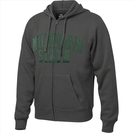 Michigan State Spartans Charcoal Twill Arch Full-Zip Hooded Sweatshirt