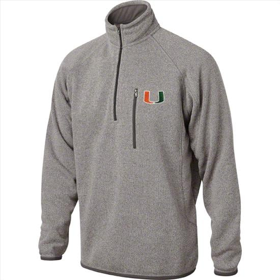 Miami Hurricanes Marled Grey  1/2 Zip Sweater Jacket