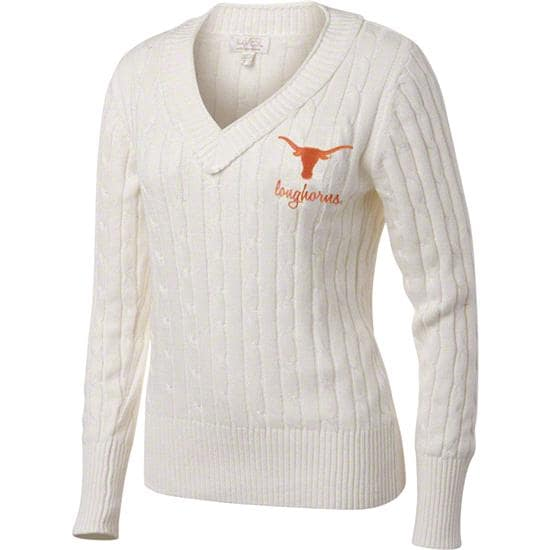 Texas Longhorns Women's Antique White V-Neck Cable Knit Sweater