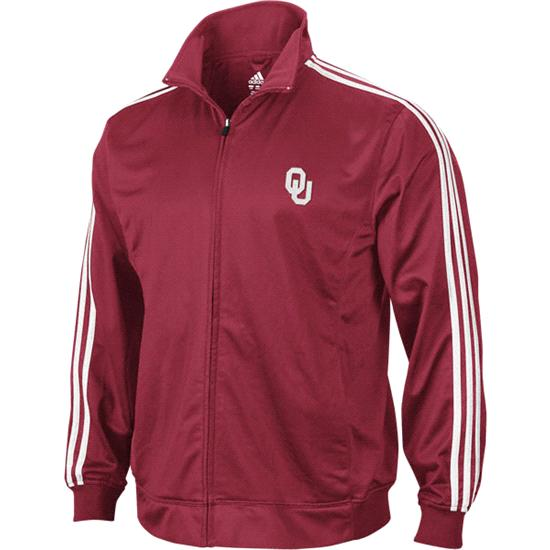 Oklahoma Sooners adidas Red 3-Stripe Track Jacket