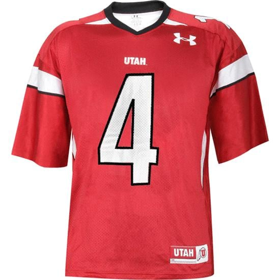 Utah Utes -No. 4- Youth Red Under Armour Performance Replica Jersey