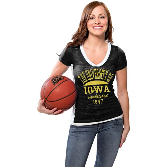 Iowa Hawkeyes Women's Black Side Stripe Jersey Burnout V-neck T-Shirt