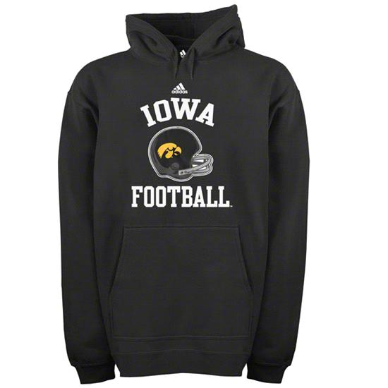 Iowa Hawkeyes adidas Black Football Helmet Patch Hooded Sweatshirt